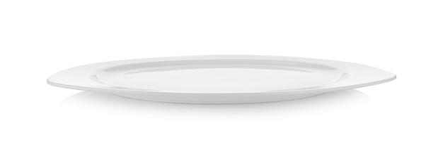 Moderne weiße keramikplatte auf weißer wand