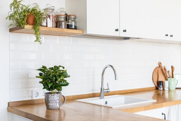 Moderne weiße küche im skandinavischen stil