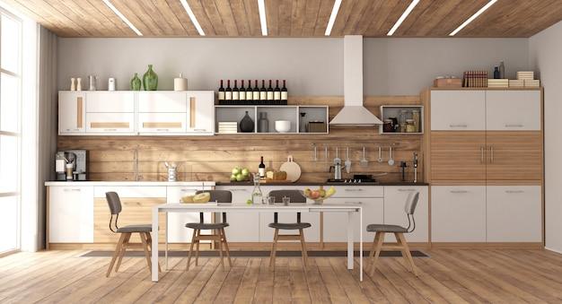 Moderne weiße und hölzerne küche