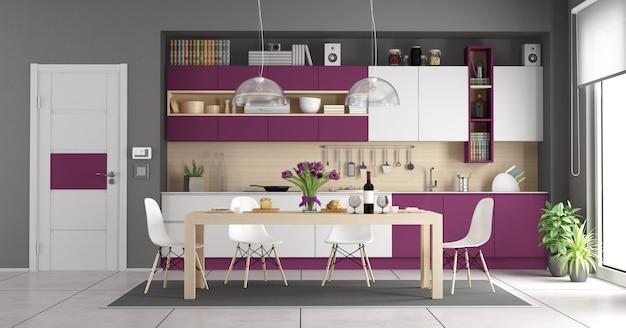 Moderne weiße und lila küche