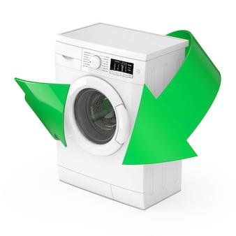 Moderne weiße waschmaschine mit grünen pfeilen auf weißem hintergrund. 3d-rendering