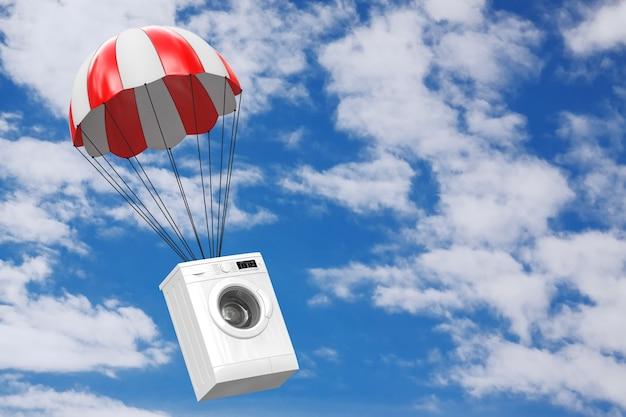 Moderne weiße waschmaschine mit rotem fallschirm auf blauem himmelshintergrund. 3d-rendering