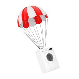 Moderne weiße waschmaschine mit rotem fallschirm auf weißem hintergrund. 3d-rendering