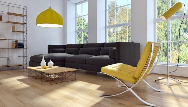 Moderne wiedergabe des wohnzimmers 3d