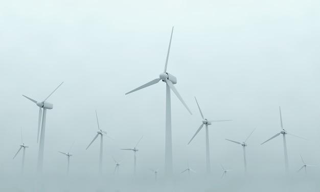 Moderne windkraftanlagen auf dichtem nebel