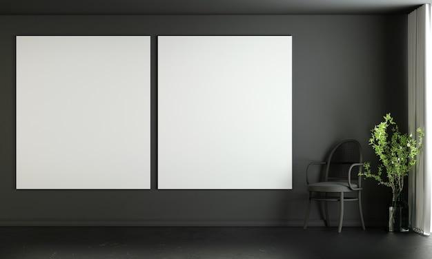 Moderne wohn- und dekorationsmöbel und innenarchitektur des wohnzimmers und leere leinwand auf schwarzem wandtexturhintergrund 3d-rendering