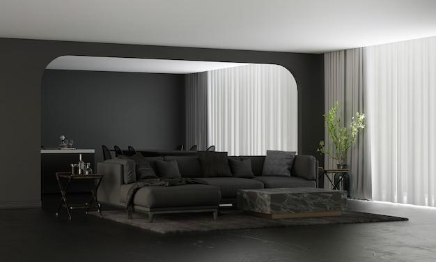 Moderne wohn- und dekorationsmöbel und innenarchitektur von gemütlichem wohnzimmer und esszimmer und speisekammer und schwarzer wandtexturhintergrund 3d-rendering