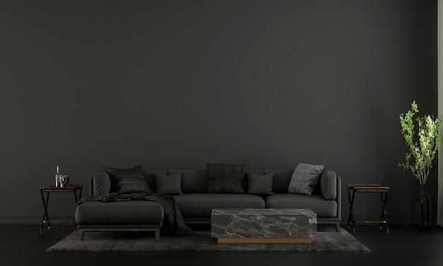 Moderne wohn- und dekorationsmöbel und innenarchitektur von luxuswohnzimmern und schwarzem wandtexturhintergrund 3d-rendering