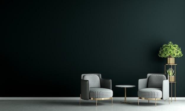 Moderne wohn- und dekorationsmöbel und innenarchitektur von minimalem wohnzimmer und schwarzem wandtexturhintergrund 3d-rendering