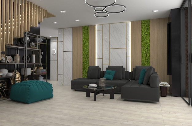 Moderne wohnung interieur, 3d-illustration