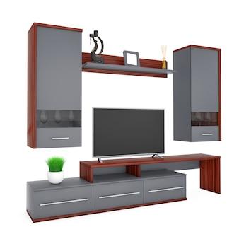 Moderne wohnzimmer-wandeinheit auf weißem hintergrund. 3d-rendering.