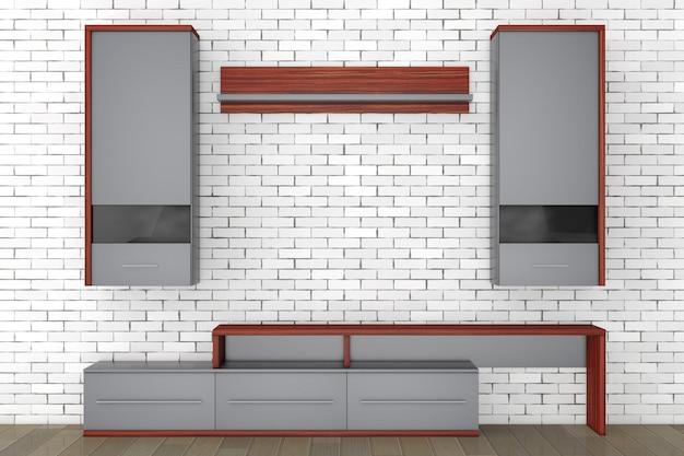 Moderne wohnzimmerwand vor backsteinmauer. 3d-rendering.