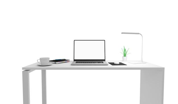 Moderner arbeitsplatz gruppe von bürogeräten und zubehör auf dem schreibtisch