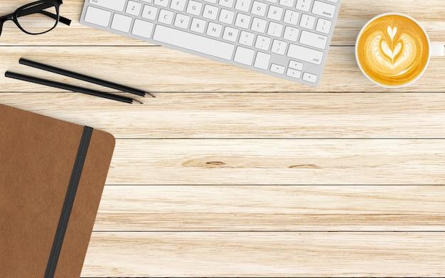 Moderner arbeitsplatz mit kaffeetasse, notizbuch und tastatur auf holz