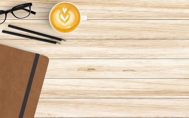 Moderner arbeitsplatz mit kaffeetasse und notizbuch auf holz