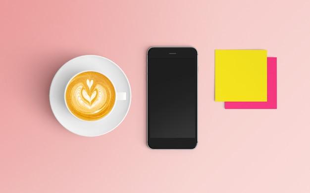 Moderner arbeitsplatz mit kaffeetasse und smartphone auf rosa farbe