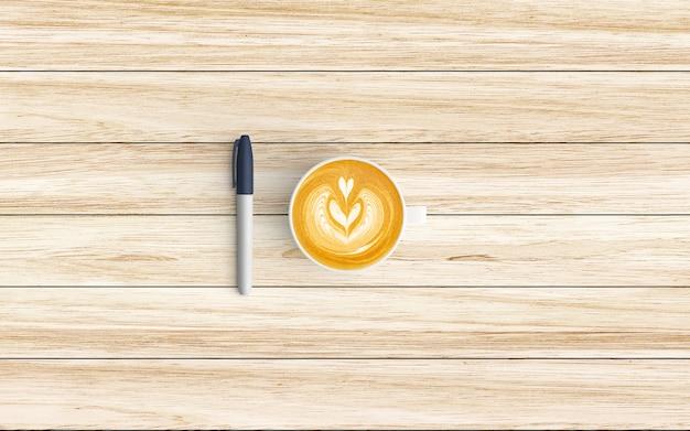Moderner arbeitsplatz mit kaffeetasse und stift auf holz