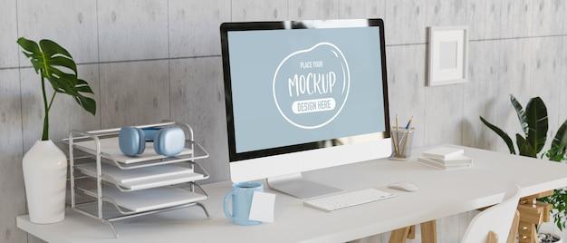 Moderner arbeitsplatz mit mock-up-desktop-computer mit büromaterial, 3d-rendering, 3d-illustration