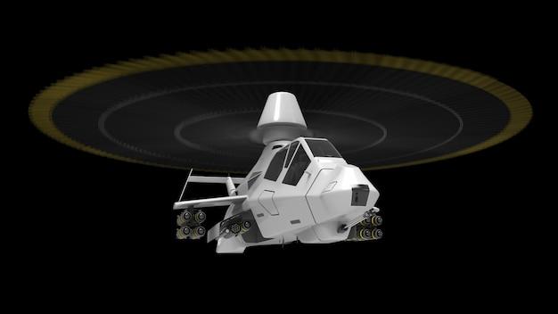 Moderner armeehubschrauber im flug mit einer vollen ergänzung von waffen auf einer schwarzen oberfläche