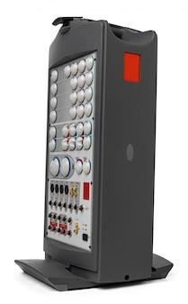 Moderner audiosystemverstärker auf weiß