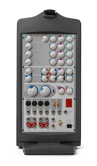 Moderner audiosystemverstärker auf weißem hintergrund