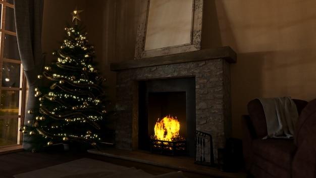 Moderner aufenthaltsrauminnenraum 3d mit dekorativem weihnachtsbaum und brüllendem kamin