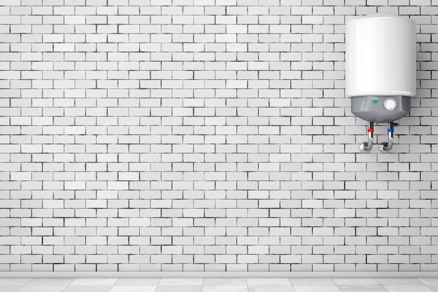Moderner automatischer warmwasserbereiter vor backsteinmauer. 3d-rendering.