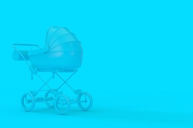 Moderner blauer kinderwagen, kinderwagen, kinderwagen mock up im duotone-stil auf blauem hintergrund. 3d-rendering