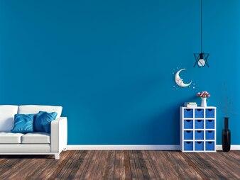 Moderner blauer Wohnzimmerinnenraum