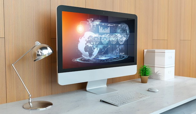 Moderner computer imac mit digitaler wiedergabe der hologrammdarstellung 3d