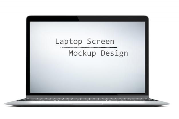 Moderner computerlaptop lokalisiert auf weißem hintergrund mit grünem schirm für modell mit dem klemmen des weges