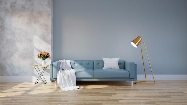 Moderner dachbodeninnenraum des wohnzimmers, blaues sofa mit goldlampe auf hölzernem bodenbelag und blau w