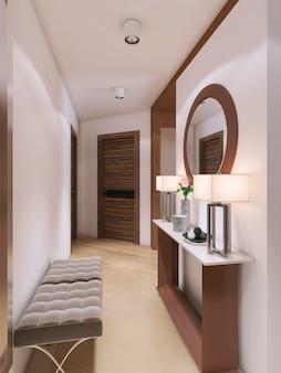 Moderner designkorridor, haushälterin und ein spiegel. 3d-rendering