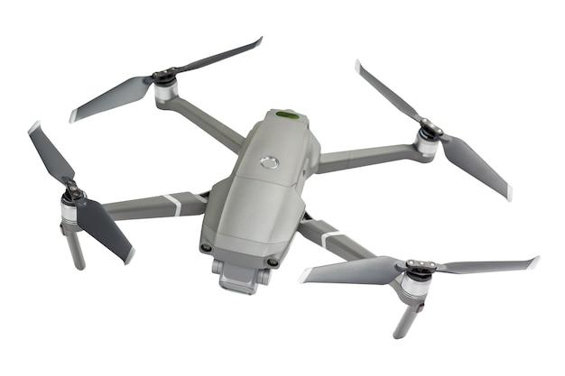 Moderner drohnenquadcopter mit einer kamera lokalisiert auf weiß.