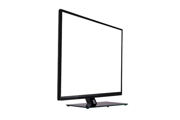 Moderner dünner plasma fernsehapparat auf dem schwarzen glasstandplatz getrennt auf weiß