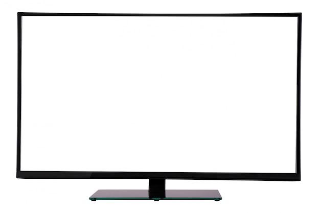 Moderner dünner plasma fernsehapparat auf dem schwarzen glasstandplatz getrennt