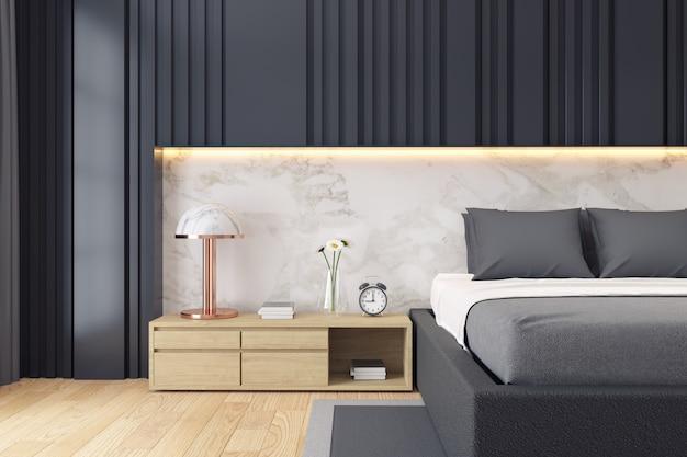 Moderner dunkler schlafzimmerluxusinnenraum