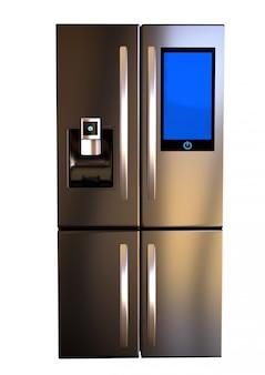 Moderner edelstahl-smart-refrigerator-touchscreen nebeneinander. kopieren sie platz