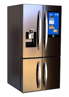 Moderner edelstahl-smart-refrigerator-touchscreen nebeneinander