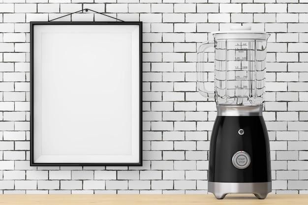 Moderner elektrischer mixer vor brick wall mit blank frame extreme nahaufnahme. 3d-rendering.