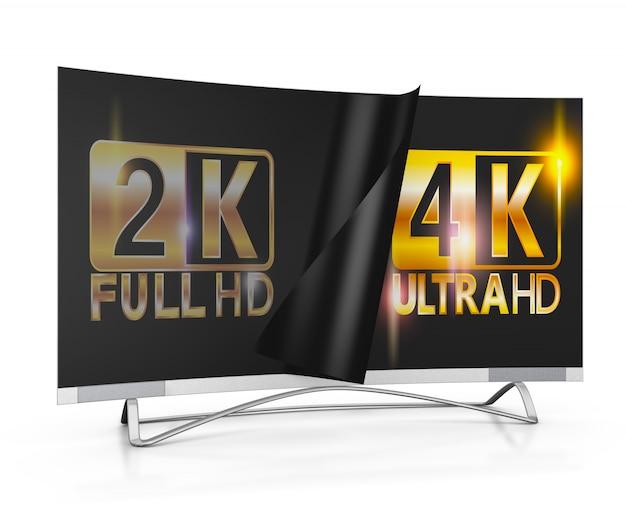 Moderner fernseher mit 2k- und 4k-ultra-hd-beschriftung auf dem bildschirm
