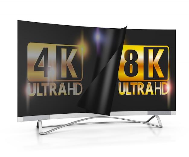 Moderner fernseher mit 4k- und 8k-ultra-hd-beschriftung auf dem bildschirm