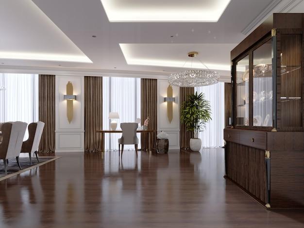 Moderner flur in einer klassischen wohnung mit glasschrank und schminktisch, durchgang zum wohnzimmer. 3d-rendering.