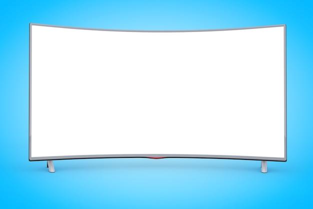Moderner gebogener led- oder lcd-tv-bildschirm auf blauem hintergrund. 3d-rendering