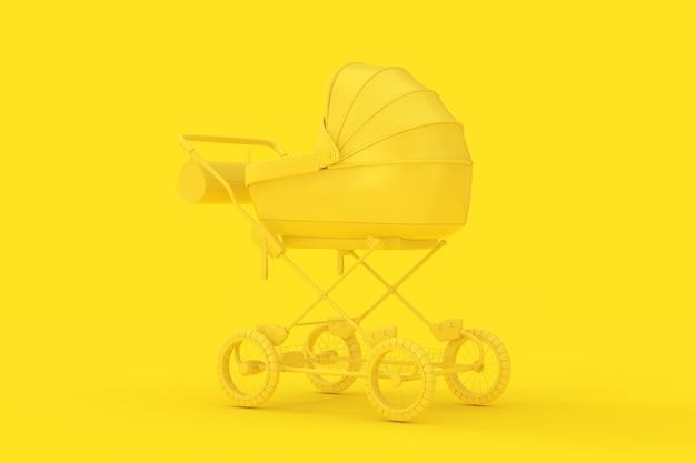 Moderner gelber kinderwagen, kinderwagen, kinderwagen mock up im duotone-stil auf gelbem hintergrund. 3d-rendering