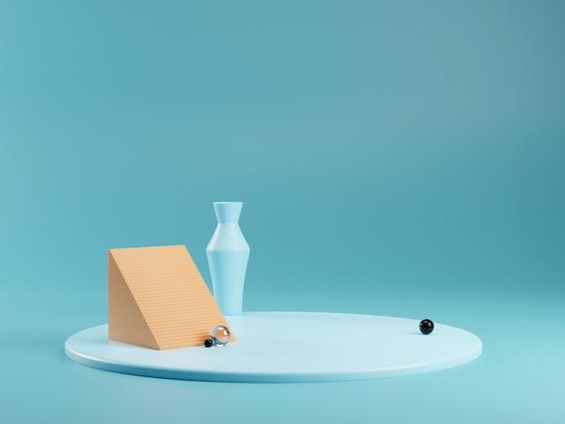 Moderner geometrischer 3d-render des podiums oder des sockels für produkte. glas, kunststoff. leerer ständer.