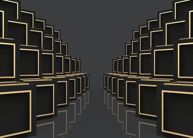 Moderner goldener luxusrahmen auf dunklen würfelboxen stapelt reihenwandhintergrund.