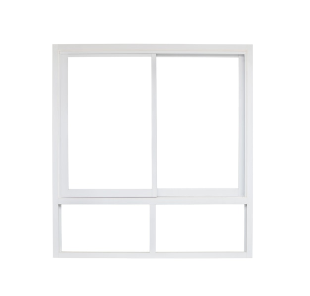 Moderner hausfensterrahmen lokalisiert auf weißem hintergrund