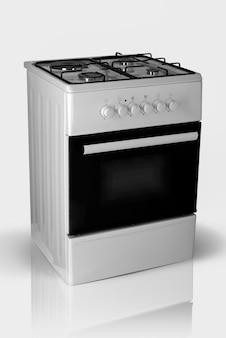 Moderner haushaltsküchenofen auf weißem hintergrund