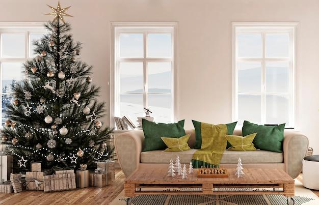 Moderner hausinnenraum mit baum des neuen jahres und weihnachtsdekoration